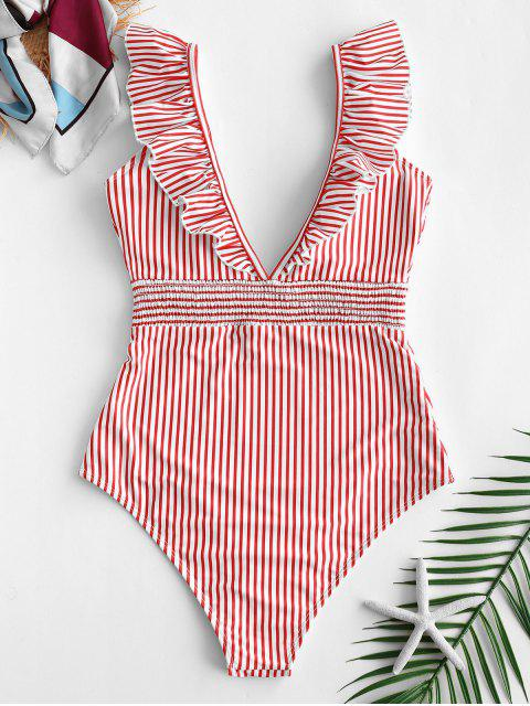 buy ZAFUL Ruffle Shirred Stripe Swimsuit - ROSSO RED S Mobile