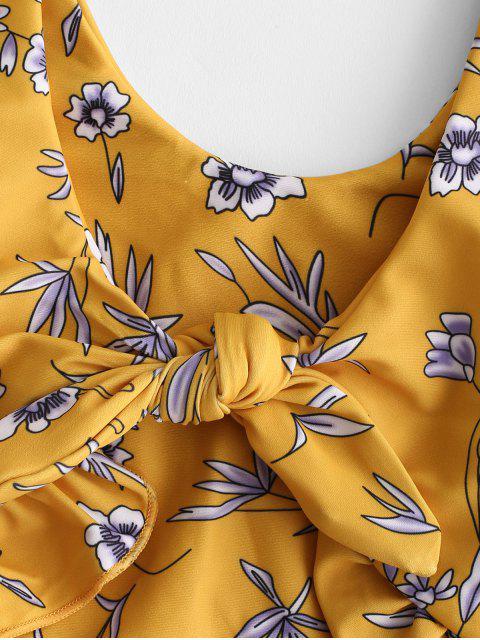 shop ZAFUL Ruffle Tied Floral Tankini Set - MULTI-A S Mobile