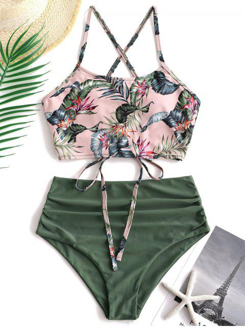 ZAFUL Palm Floral Lace Up Tummy Control Tankini Set - Multicolor-A XL Mobile