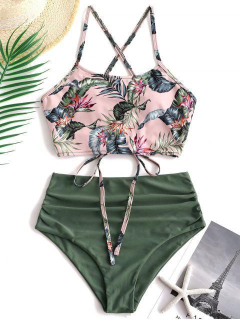 ZAFUL Palm Floral Lace Up Tummy Control Tankini Set - Multicolor-A M Mobile
