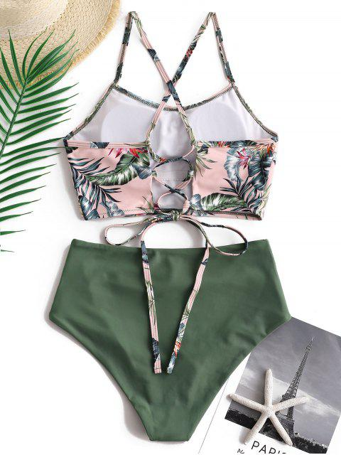 affordable ZAFUL Palm Floral Lace Up Tummy Control Tankini Set - MULTI-A M Mobile