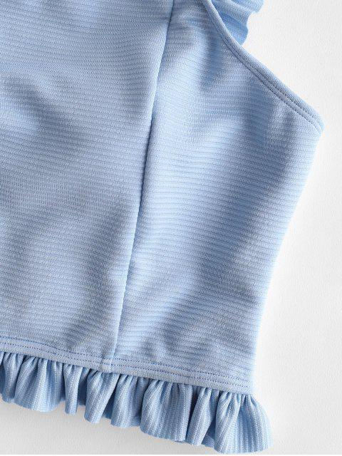 ZAFUL conjunto de tankini acanalado con volantes de bowknot - Azul de Jeans  S Mobile