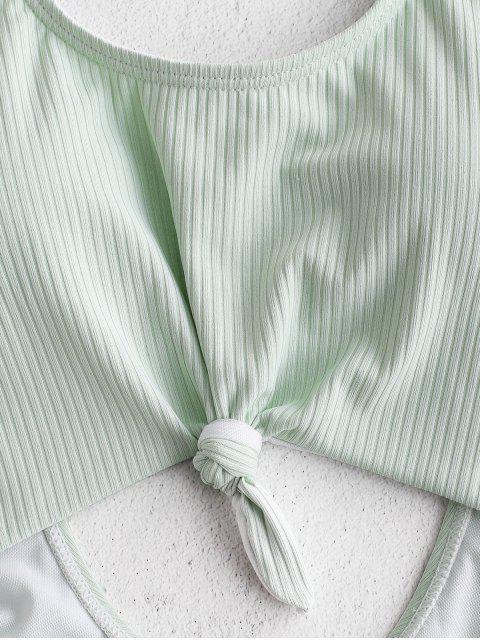 ZAFUL Bañador Monokini Anudado Con Textura - Verde Menta XL Mobile