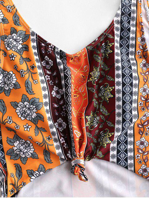 buy ZAFUL Knot Bohemian Cutout One-piece Swimsuit - MULTI-A L Mobile