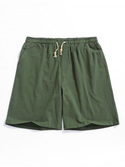 Shorts elásticos de cordón de color sólido - Ejercito Verde L Mobile