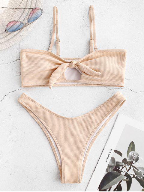 fancy ZAFUL Knot Cutout Ribbed Bikini Set - BLANCHED ALMOND L Mobile