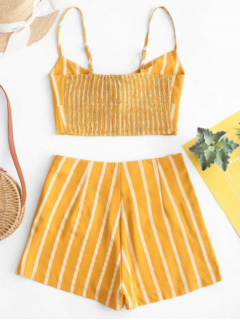 fashion ZAFUL Smocked Knotted Stripes Top And Shorts Set - GOLDENROD M Mobile