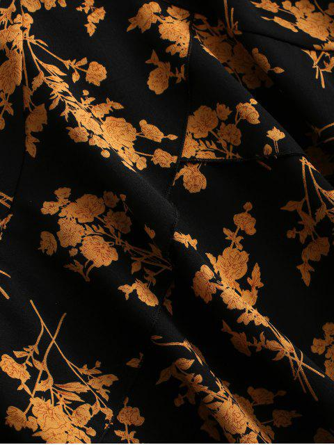 Robe Ceinturée Superposée Fleurie Imprimée à Volants - Multi L Mobile