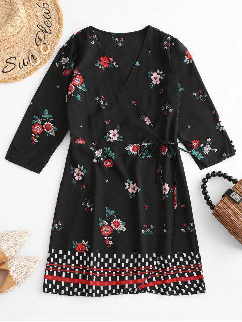 Mini-robe portefeuille géométrique à fleurs - Noir M Mobile