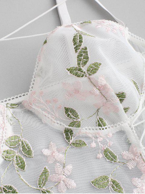 latest Flower Embroidered Lace Up Mesh Teddy - MULTI-C S Mobile
