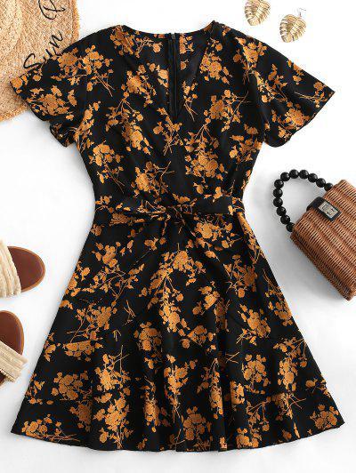 a474846447b Floral Print Ruffles Belted Surplice Dress - Multi S ...