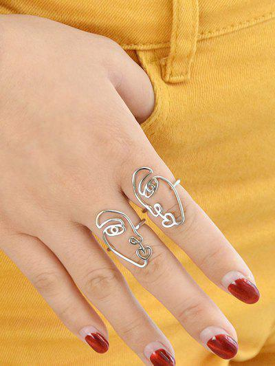 Imagem de 2Pcs Abstract Face Heart Ring Set