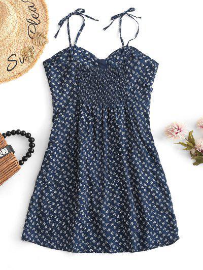 Kittel-Winzige Blumen- Minikleid - Blau S
