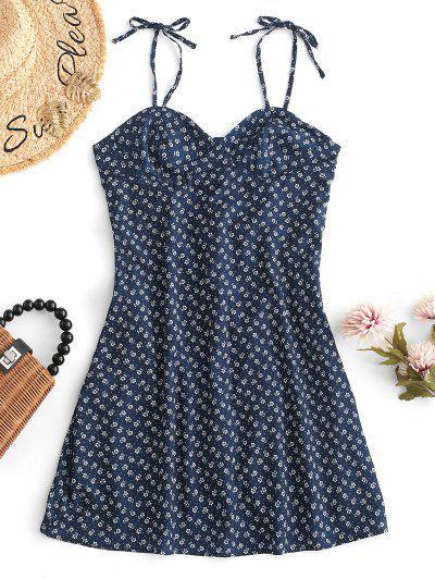ace63c14333 Smocked Back Tiny Floral Mini Dress - Blue - Blue L ...