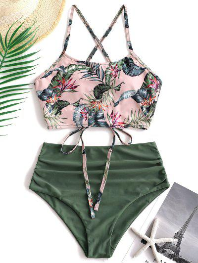 ZAFUL Palm Floral Lace Up Tummy Control Tankini Set - Multi-a L