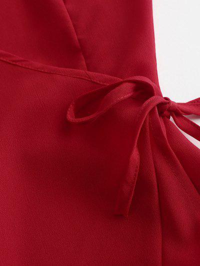 Ruffles Wrap Cami Mini Dress, Red