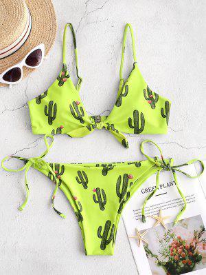 ZAFUL Cactus Tied String Bikini Set - Green Yellow S