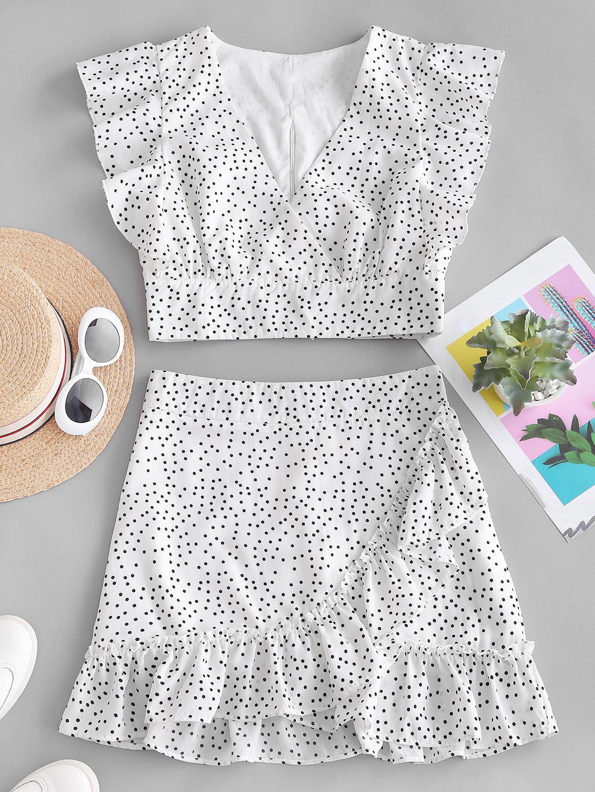 Polka Dot Plunging Ruffle Skirt Set, White