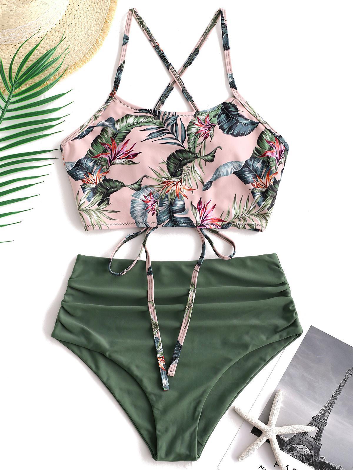 ZAFUL Palm Floral Lace Up Tummy Control Tankini Set thumbnail
