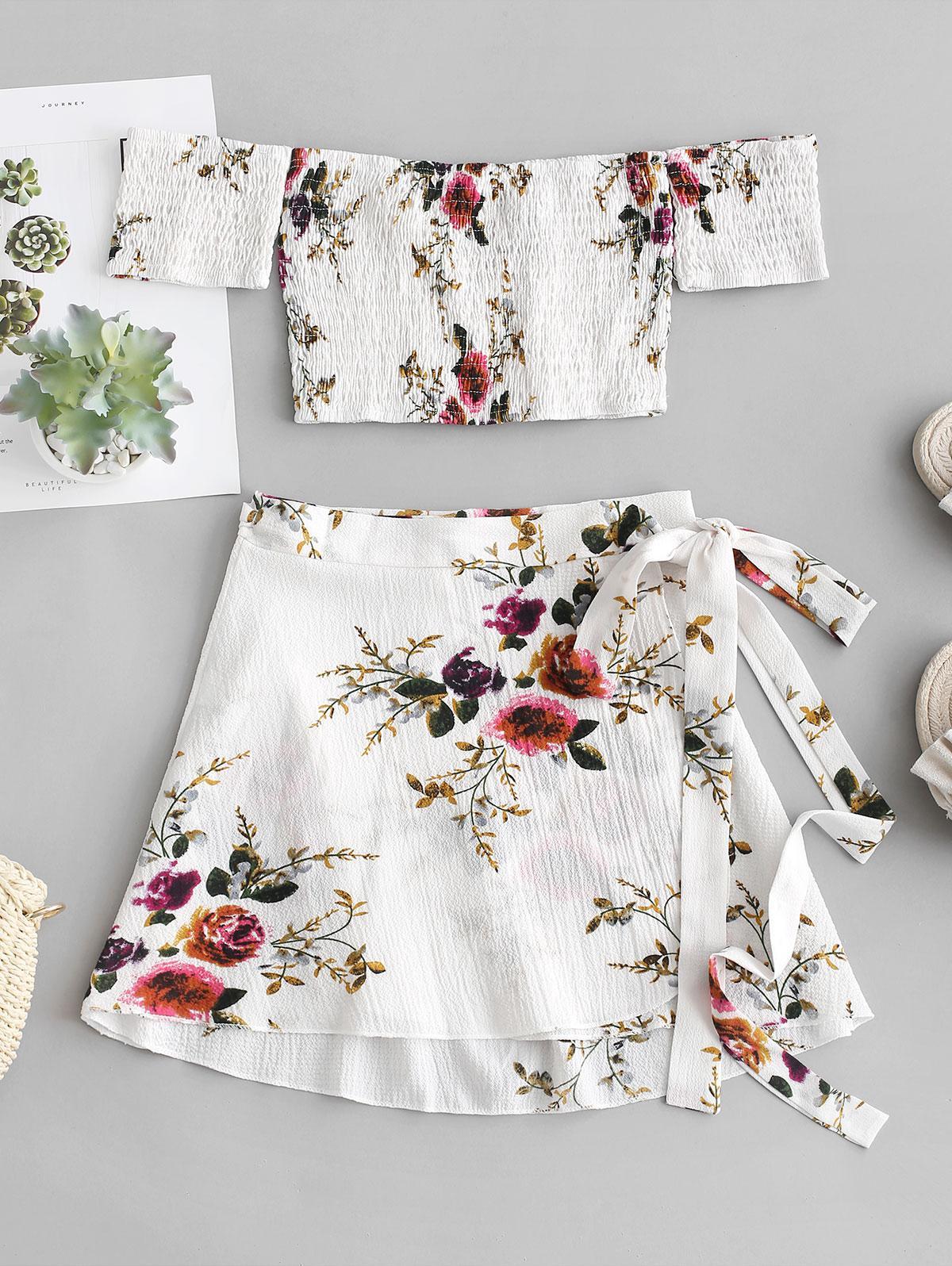 Floral Smocked Off Shoulder Wrap Skirt Set thumbnail