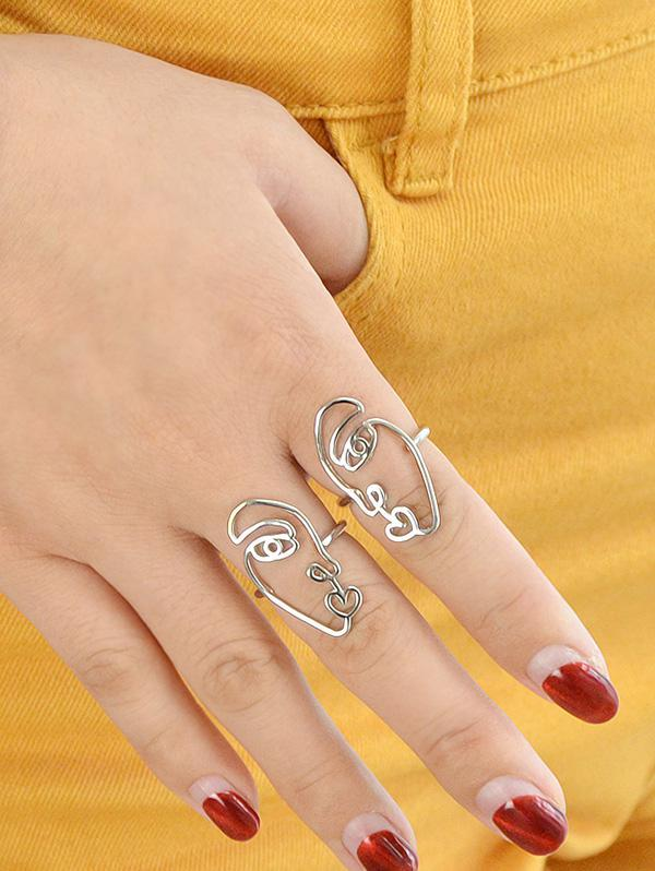 2Pcs Abstract Face Heart Ring Set
