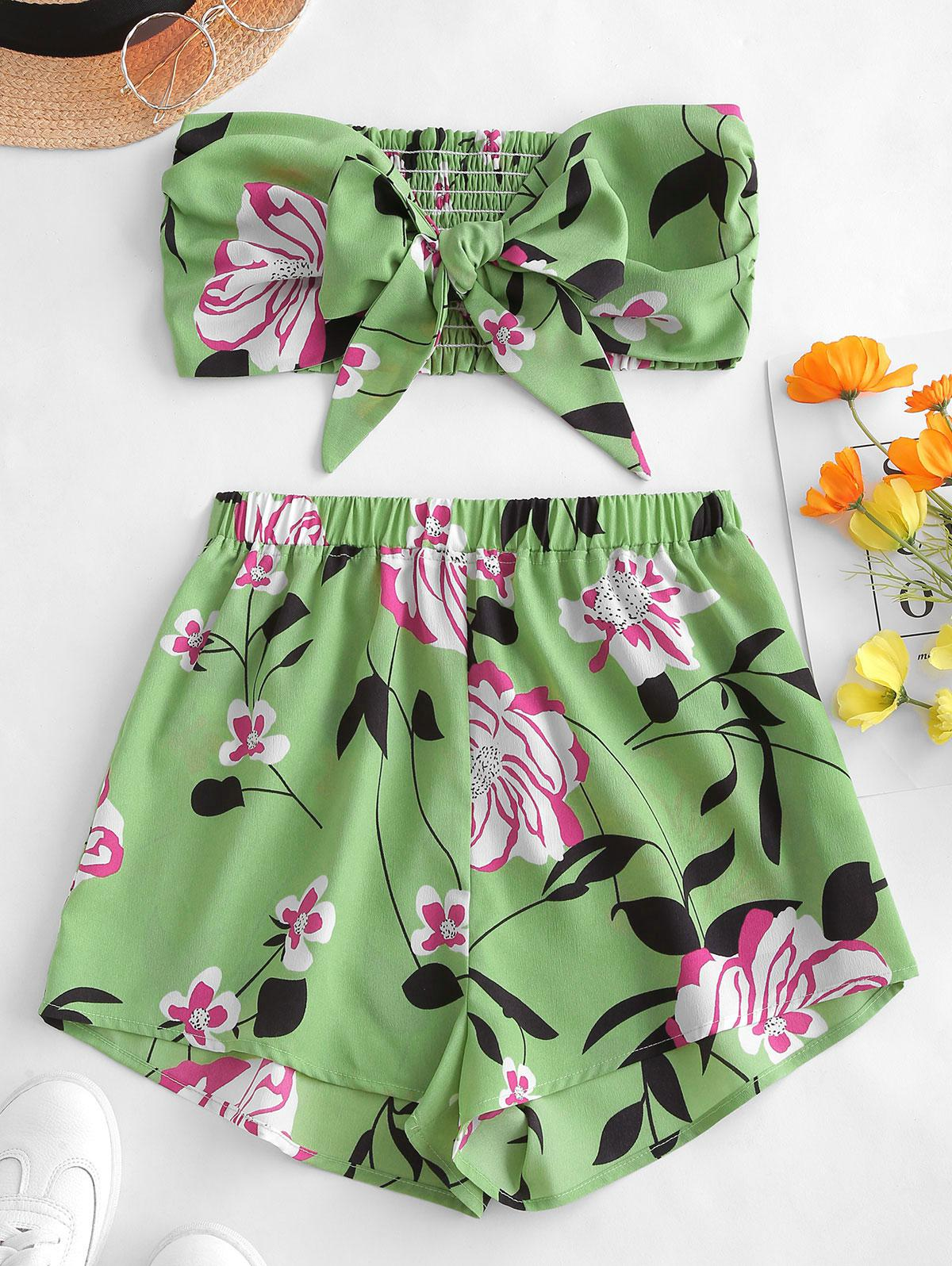 ZAFUL Tie Front Floral Bandeau Top And Shorts Set, Green peas