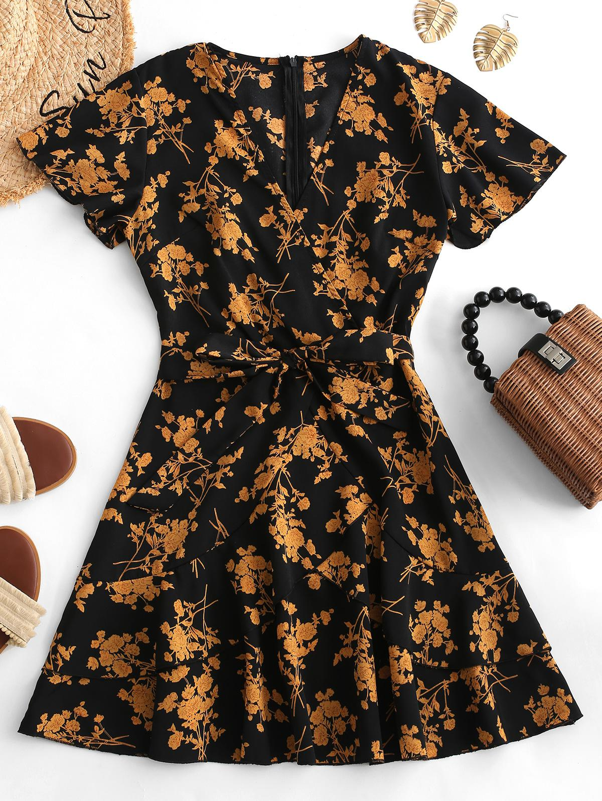 Floral Print Ruffles Belted Surplice Dress
