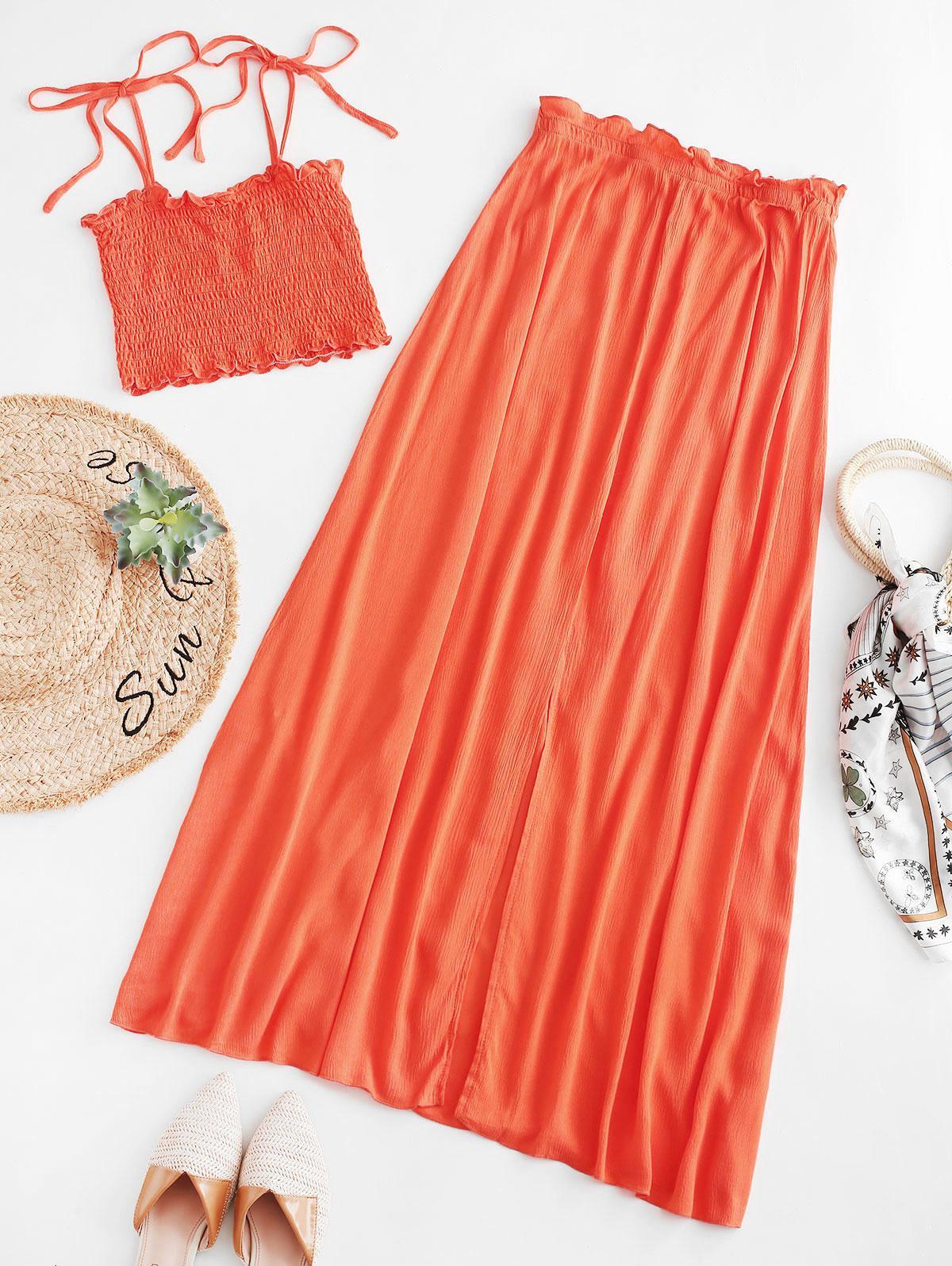 ZAFUL Smocked Cami Top and Slit Skirt Set, Mango orange