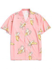 قميص القط طباعة عارضة الموز - برتقالي وردي M
