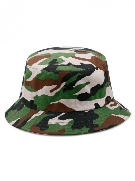 women Cotton Camouflage Print Bucket Hat - GREEN