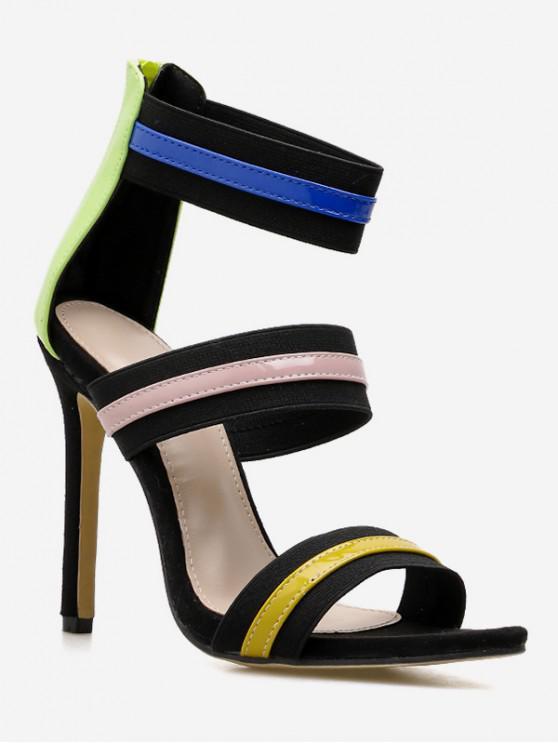 hot Contrast Color Super High Heel Pumps - BLACK EU 38