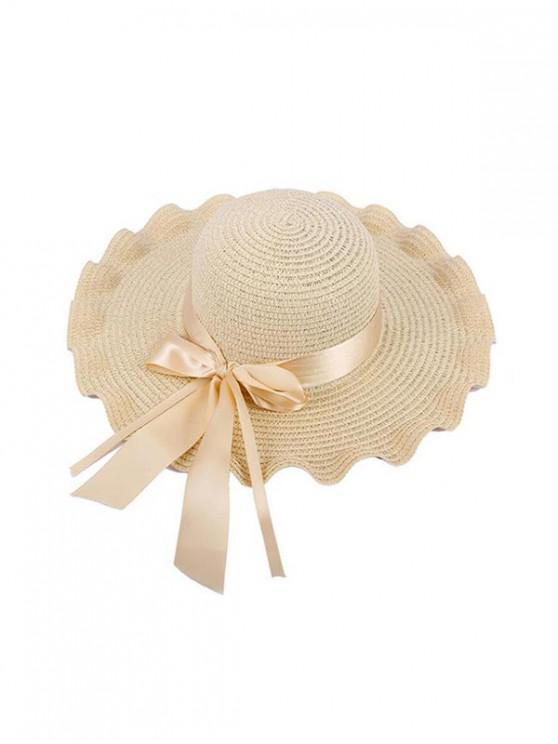 trendy Wavy Edge Bow Straw Hat - BLANCHED ALMOND