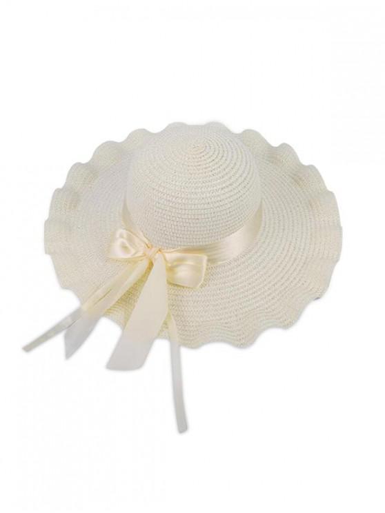 fashion Wavy Edge Bow Straw Hat - WHITE