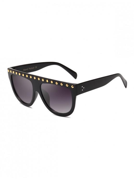 fancy Rivet Semicircle Anti UV Sunglasses - BLACK
