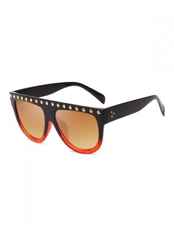women Rivet Semicircle Anti UV Sunglasses - BROWN