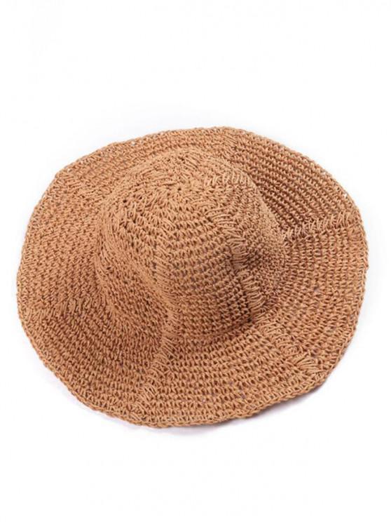 lady Wavy Wide Brim Straw Hat - BROWN SUGAR