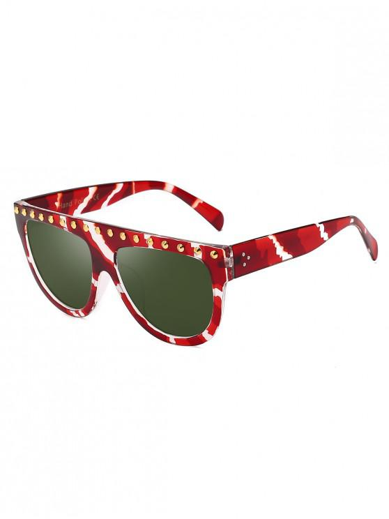 outfit Rivet Semicircle Anti UV Sunglasses - DARK GREEN