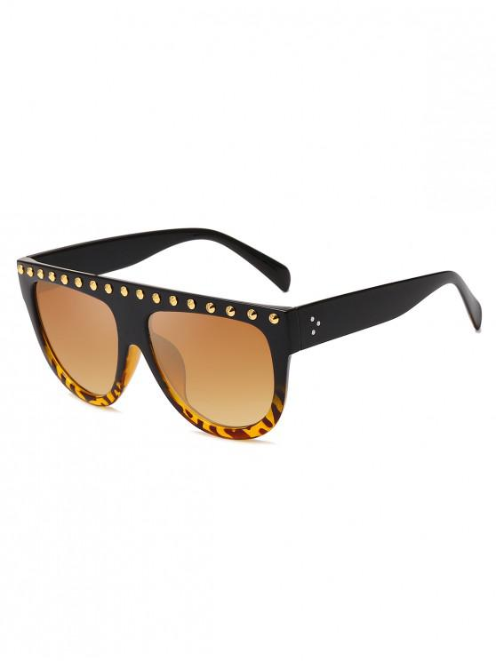 trendy Rivet Semicircle Anti UV Sunglasses - LEOPARD