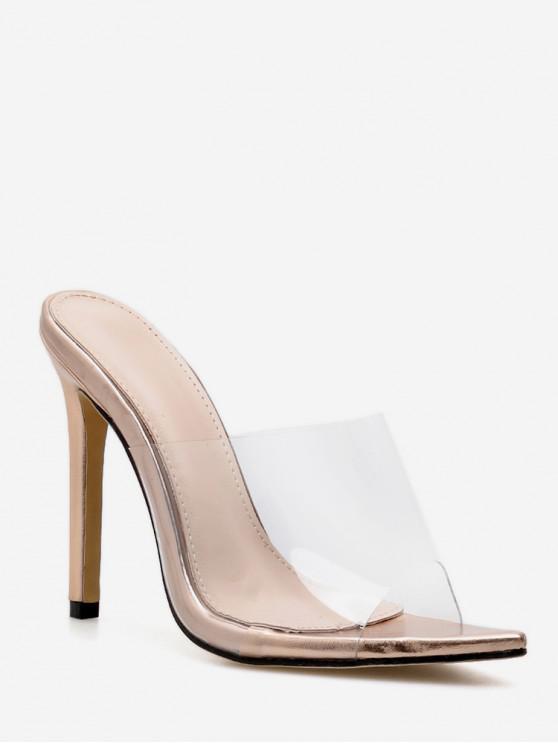 unique Transparent PVC Stiletto Heel Slides - GOLD EU 37