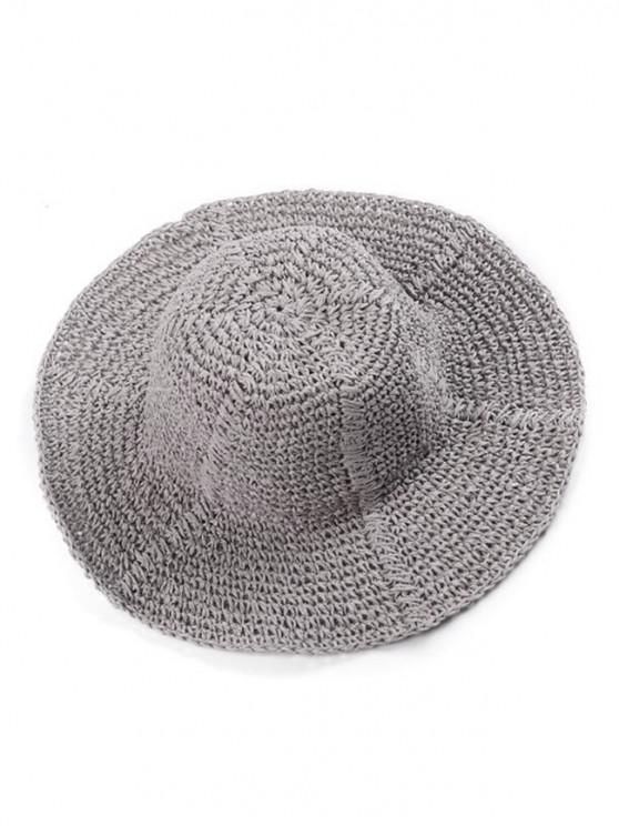sale Wavy Wide Brim Straw Hat - GRAY
