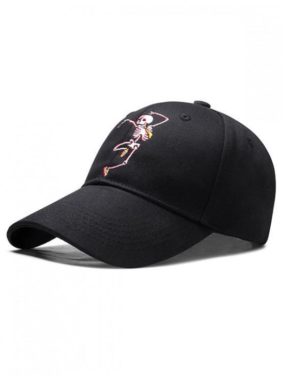 womens Embroidered Skeleton Man Baseball Cap - BLACK