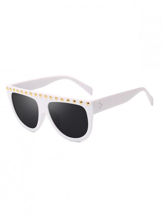 new Rivet Semicircle Anti UV Sunglasses - WHITE