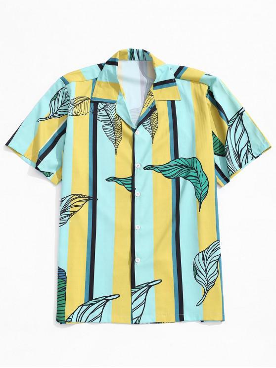 new Vertical Striped Leaf Print Button Shirt - MULTI S