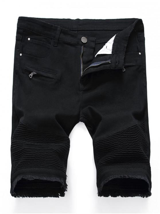 trendy Solid Color Pleated Zipper Fly Jean Shorts - BLACK 36
