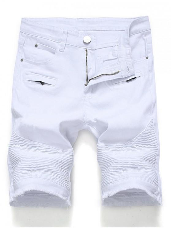 womens Solid Color Pleated Zipper Fly Jean Shorts - WHITE 40