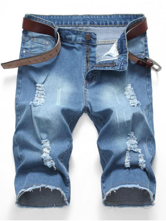 new Destroy Wash Denim Shorts - SKY BLUE 42