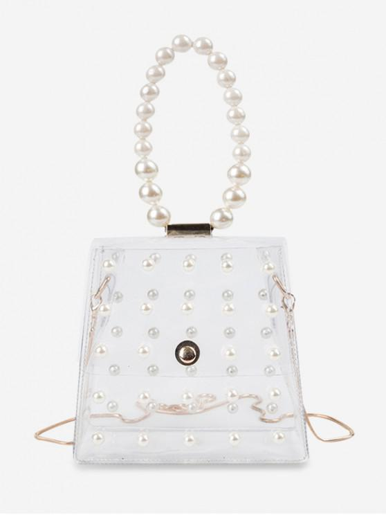 buy Faux Pearl Transparent Handbag - TRANSPARENT