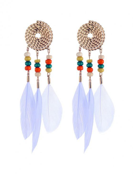 ladies Bohemian Beaded Feather Earrings - WHITE