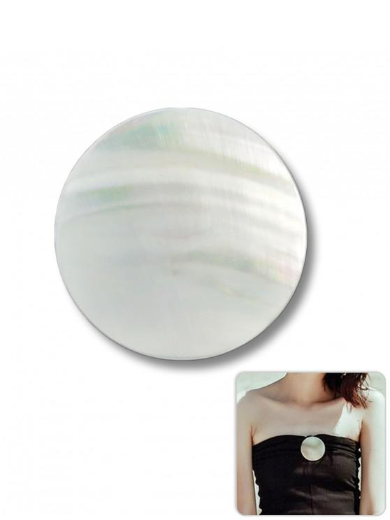 best Round Shape Seashell Decoration Brooch - WHITE