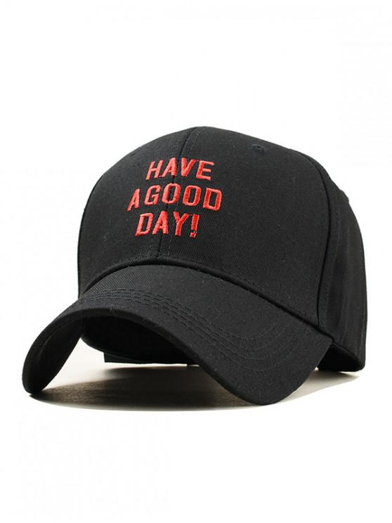 outfit Embroidery Have A Good Day Baseball Cap - BLACK